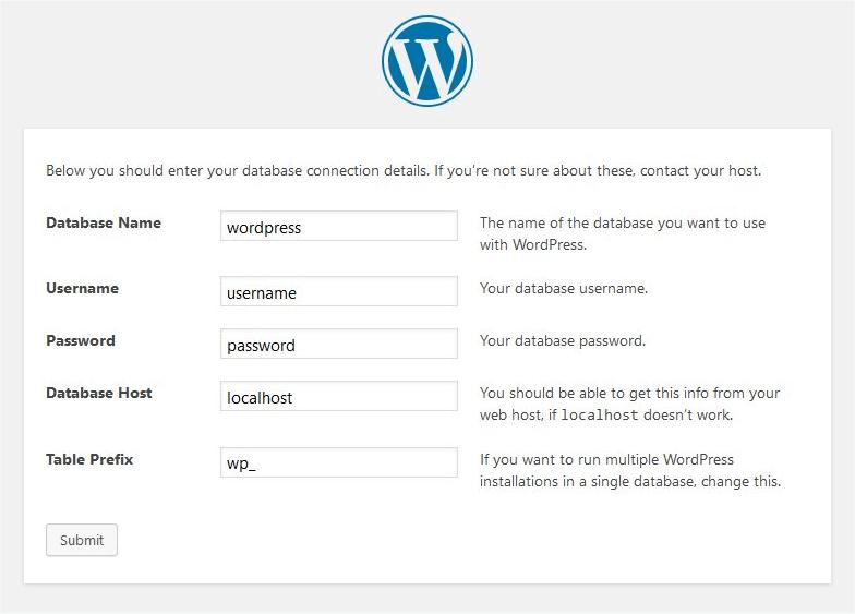 install WordPress - Enter DB information