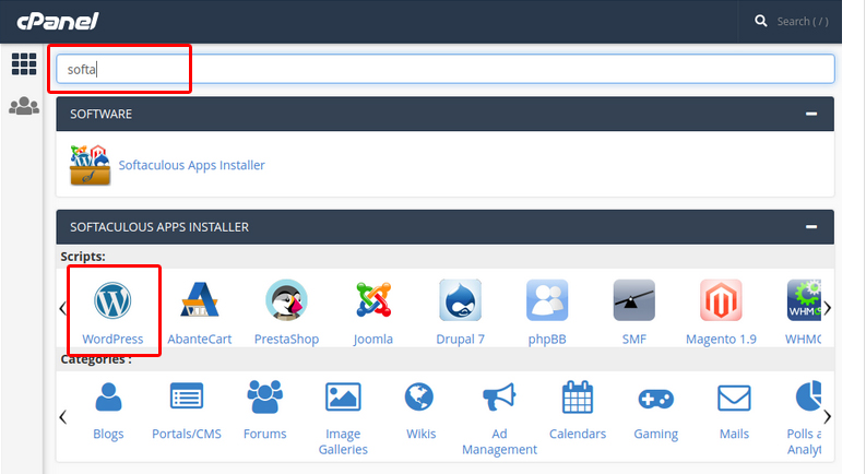 Softaclouse on cpanel