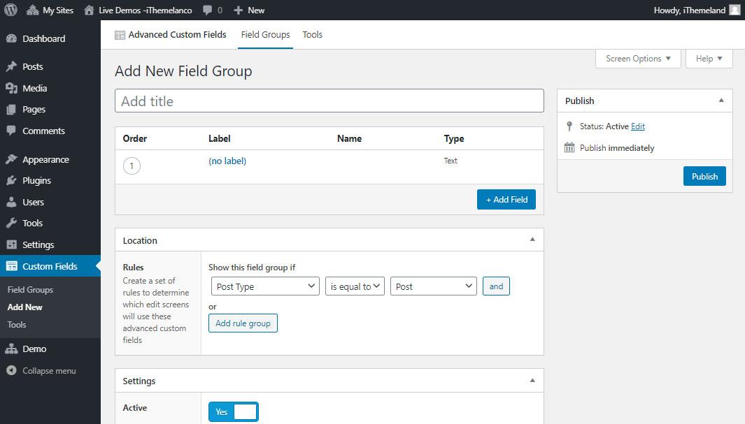 add field group in ACF