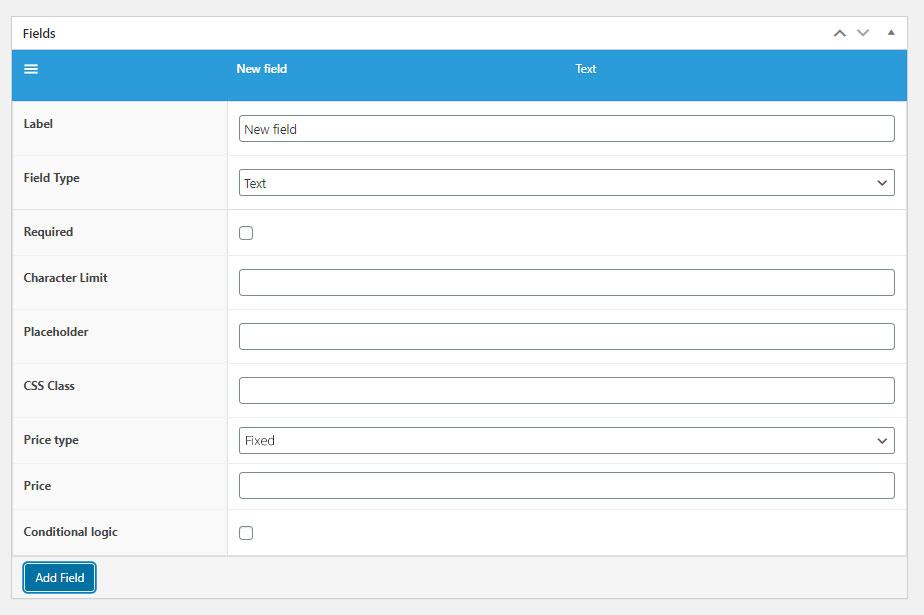 field settings in flexible product addons