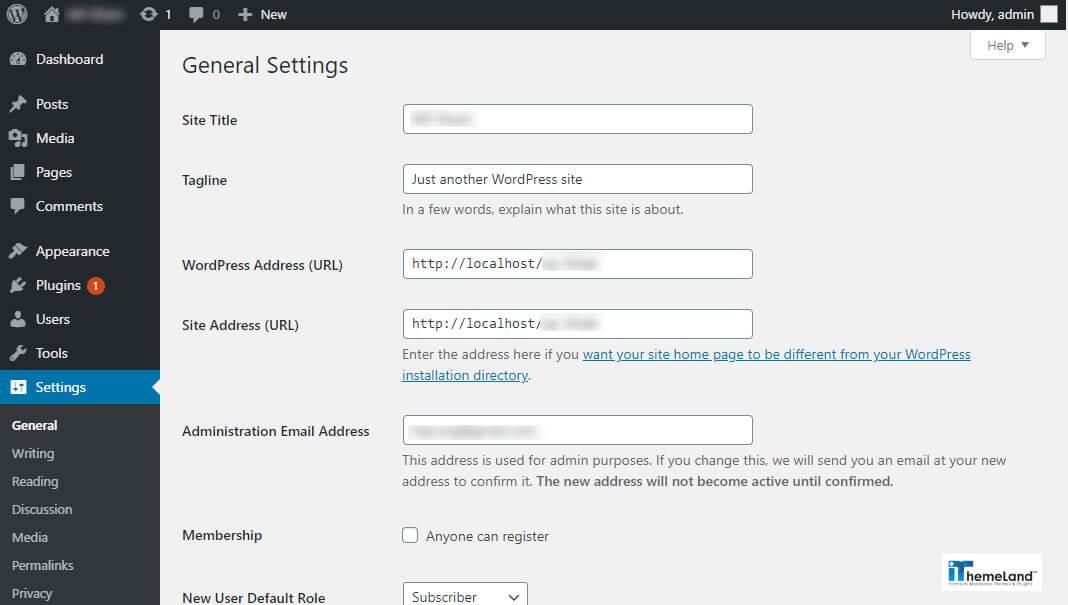 Wordpress general setting