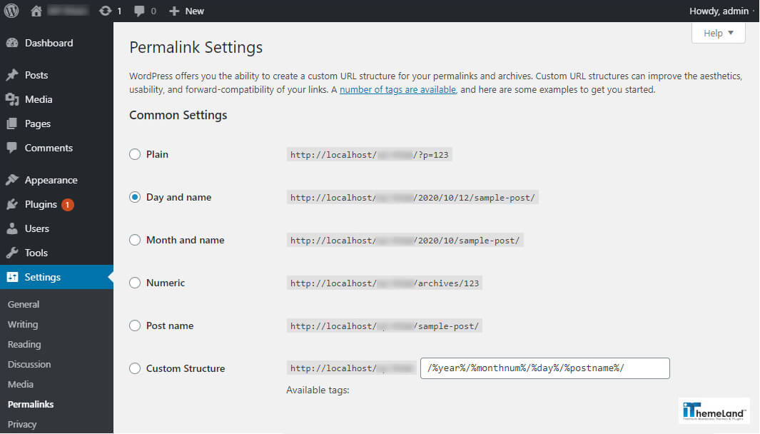 Wordpress permalink setting