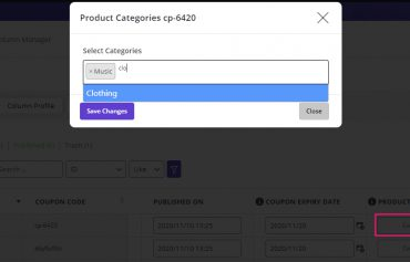 inline editing category