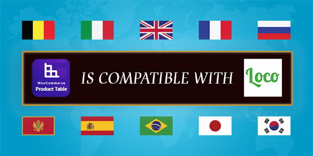 Woocommerce product table plugin compatible with Loco translate