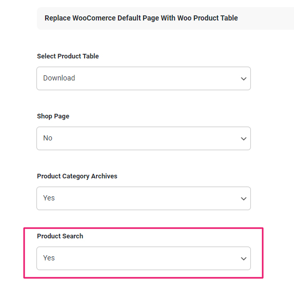 woocommerce product table override search page