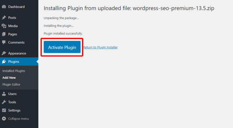 Activate plugin after upload in WordPress