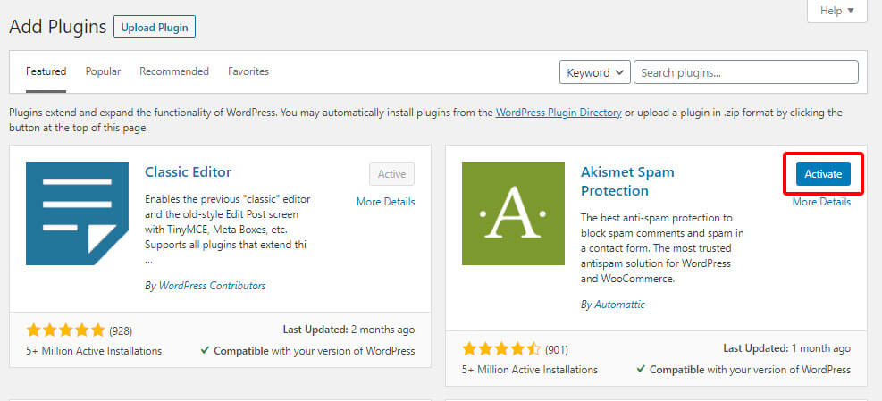 activate plugin after install on WP dashboard