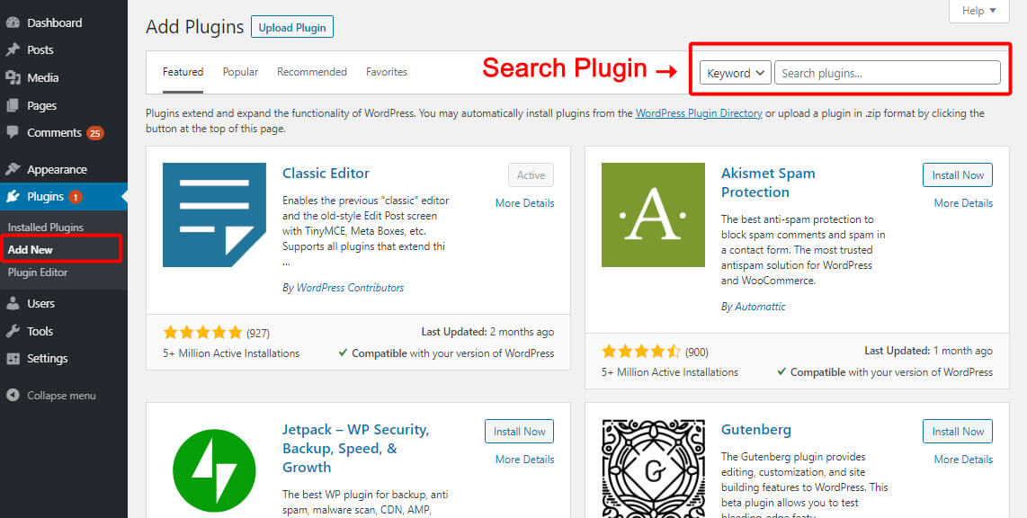 You can find desired plugin from WordPress admin panel easily