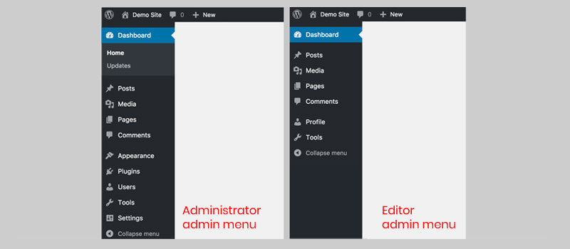 administrator and editor roles menu in WordPress