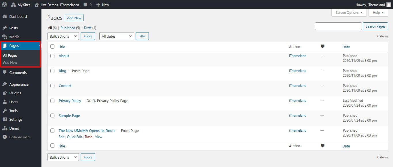 Page list in WordPress Dashboard