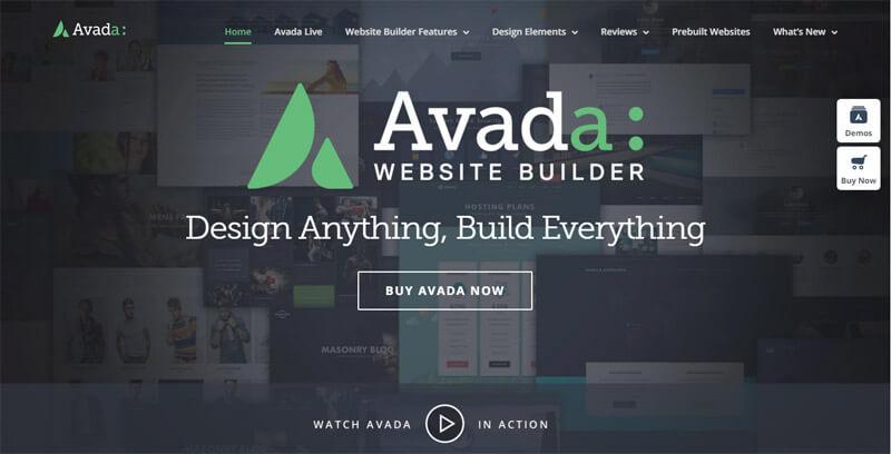 Avada WordPress theme demo page