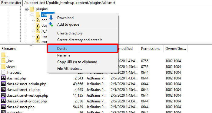 delete plugin from FTP