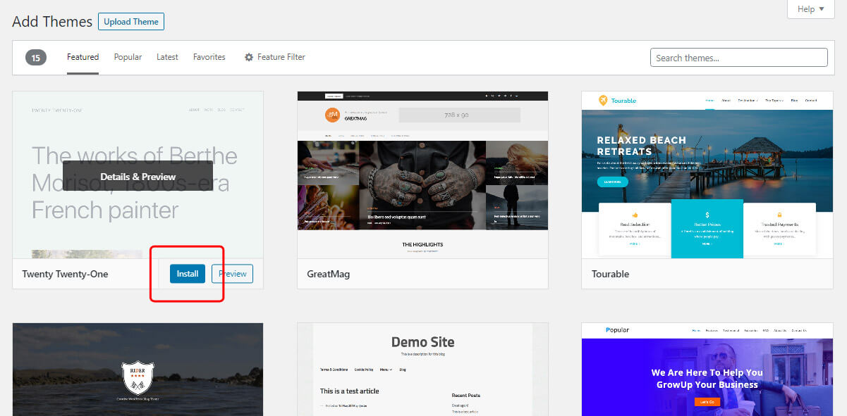 Install WordPress theme from WP dashboard
