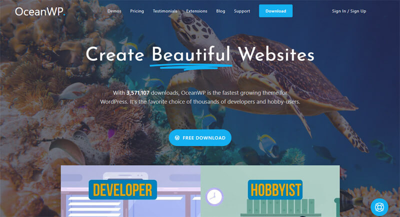 OceanWP theme demo page