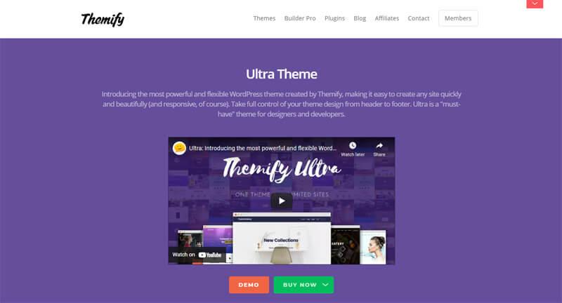 Ultra WordPress theme demo page