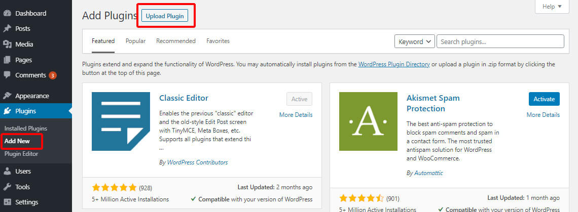 Add new plugin by upload them on WordPress