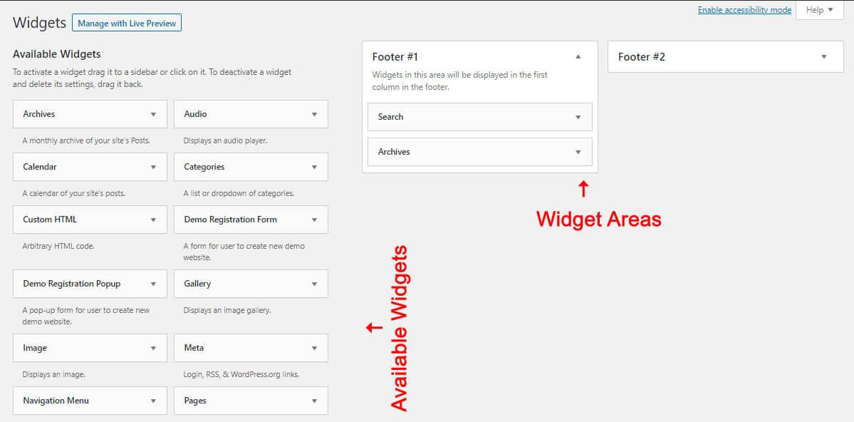 Widget areas in WordPress
