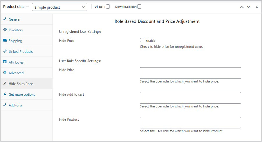 woocommerce bulk product editing dynamic hide price