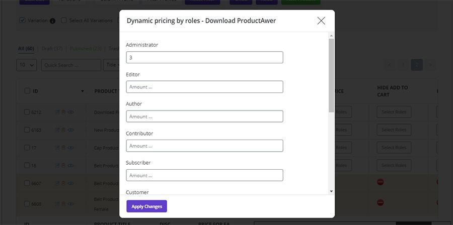 woocommerce bulk product editing dynamic price set price