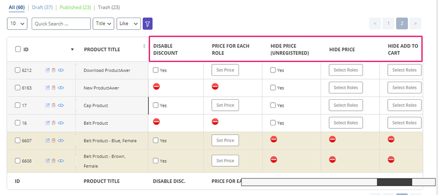 woocommerce bulk product editing dynamic price table