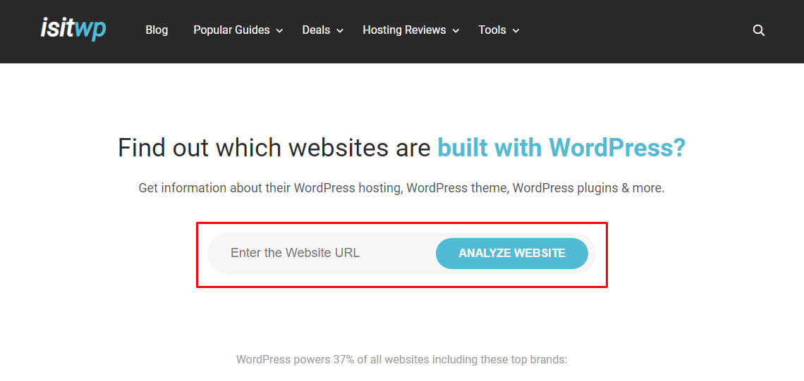 isitwp for get information about WordPress theme, plugin and hosting
