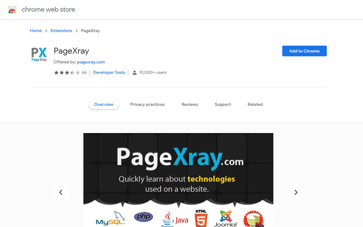 PageXray is a chrome extention for detecting all plugins installed on website