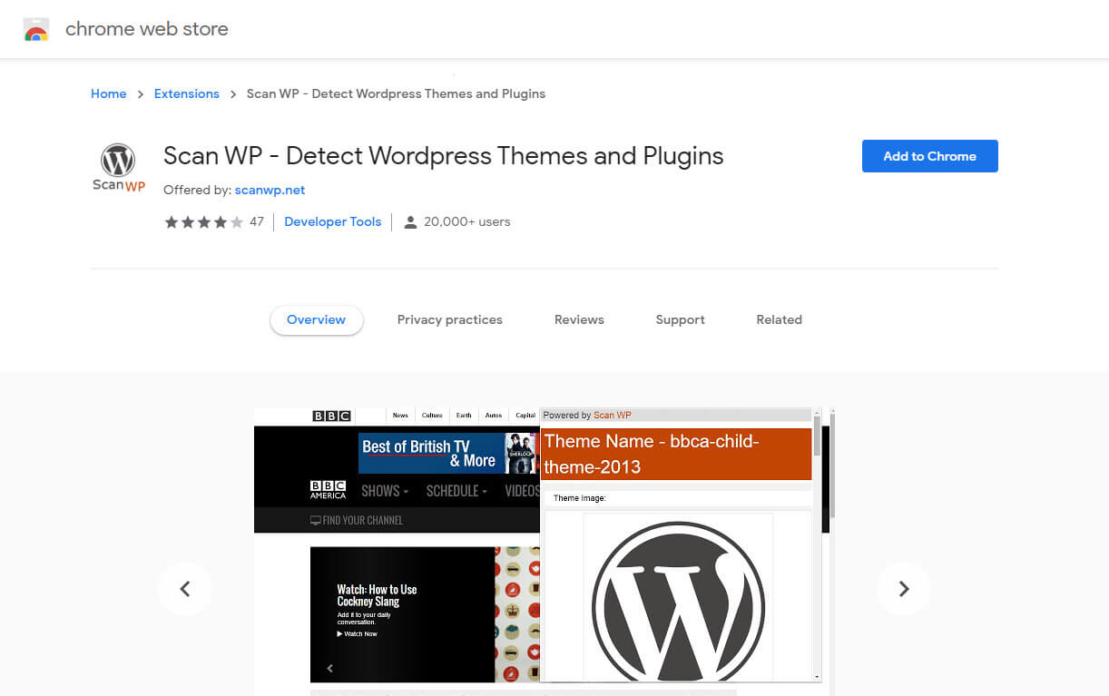 scapWP chrome extention for detectinf wordpress themes and plugins
