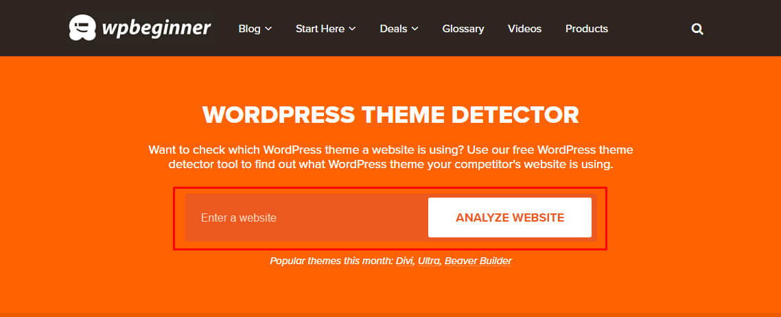 wpbeginner theme detector tools