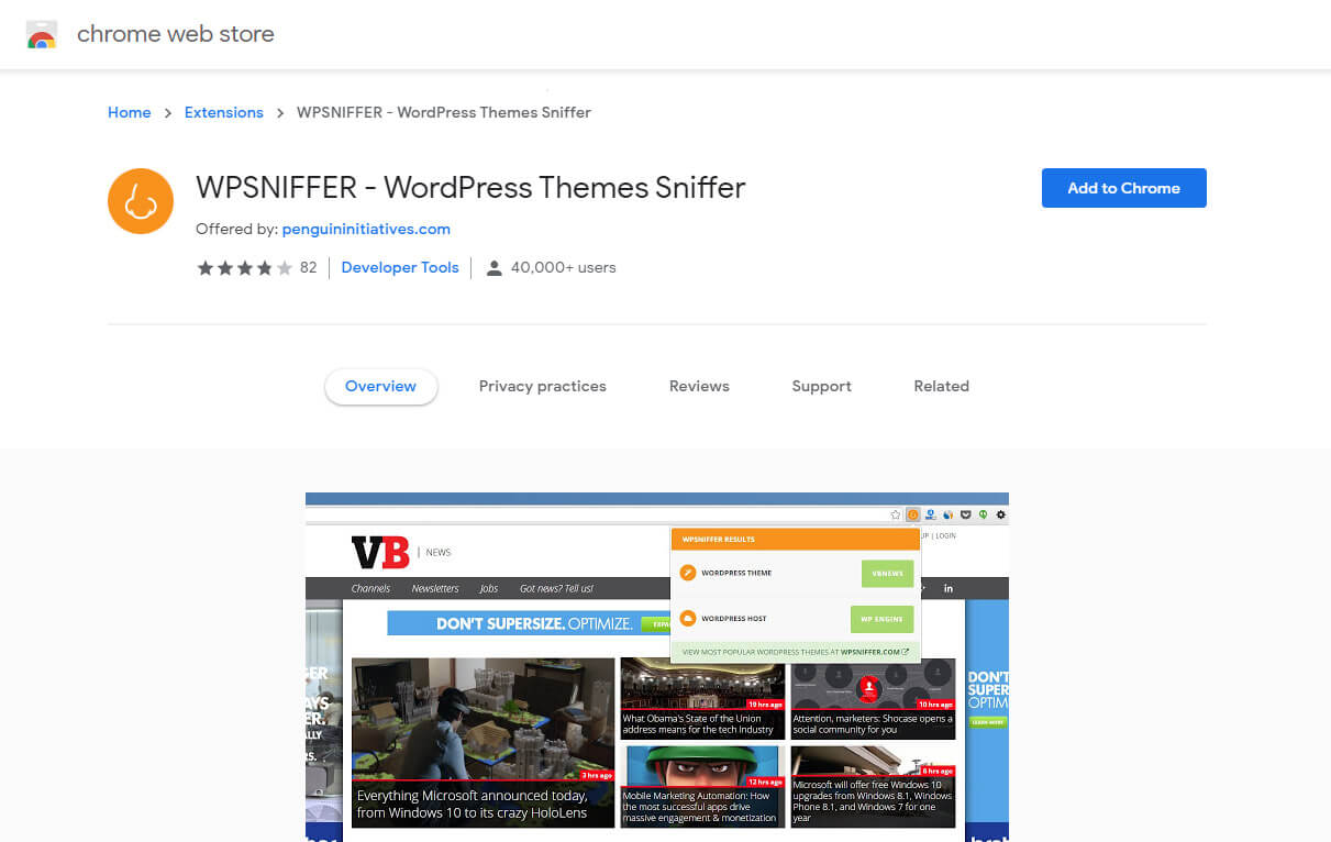 wpsniffer is a free tools to identifying website themes