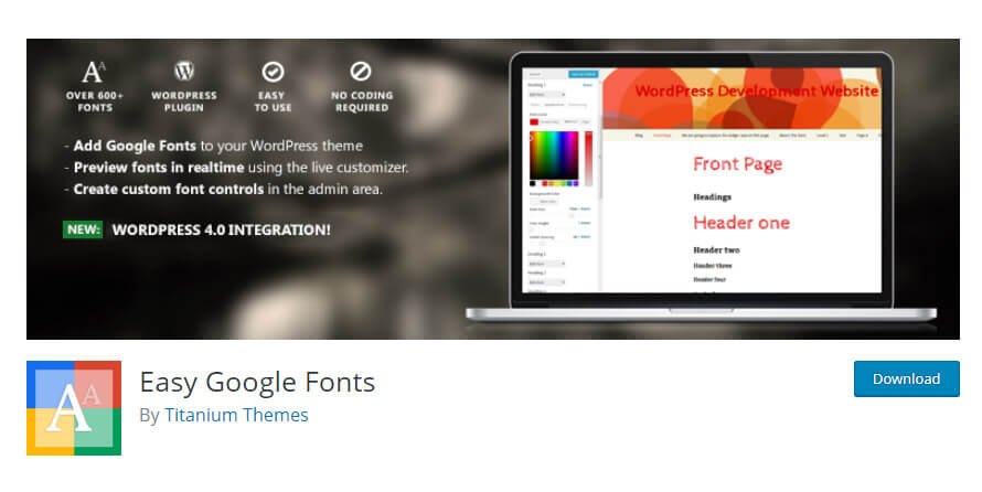Easy google fonts plugin in WordPress