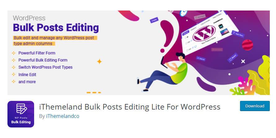 WordPress bulk posts editing plugin in WordPress