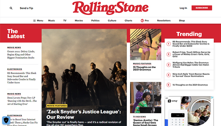 The Rolling Stone- A digital magazine website