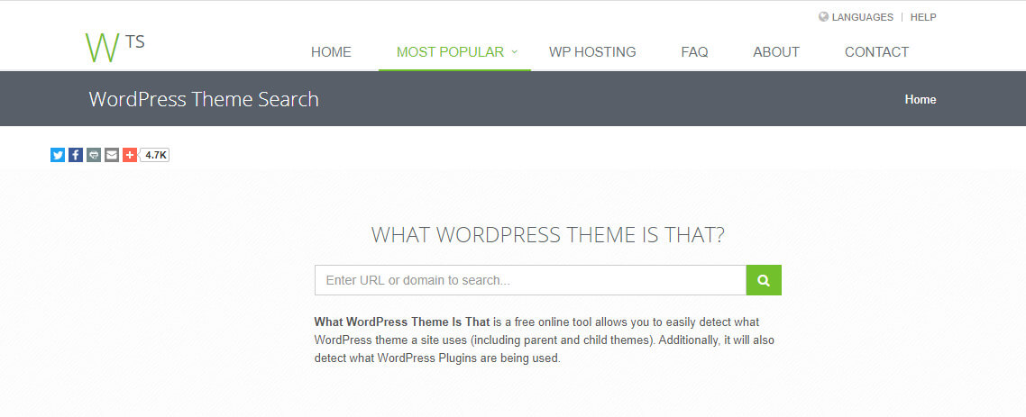 What WordPress Theme is that is a free online tool for detect theme