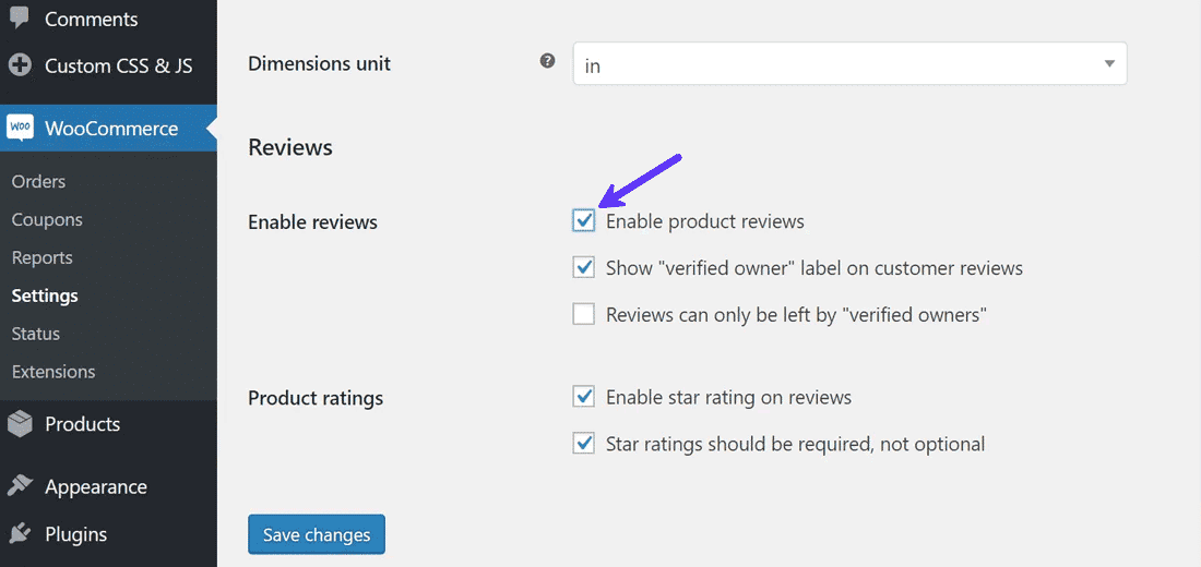 Disabling product reviews in WooCommerce settings