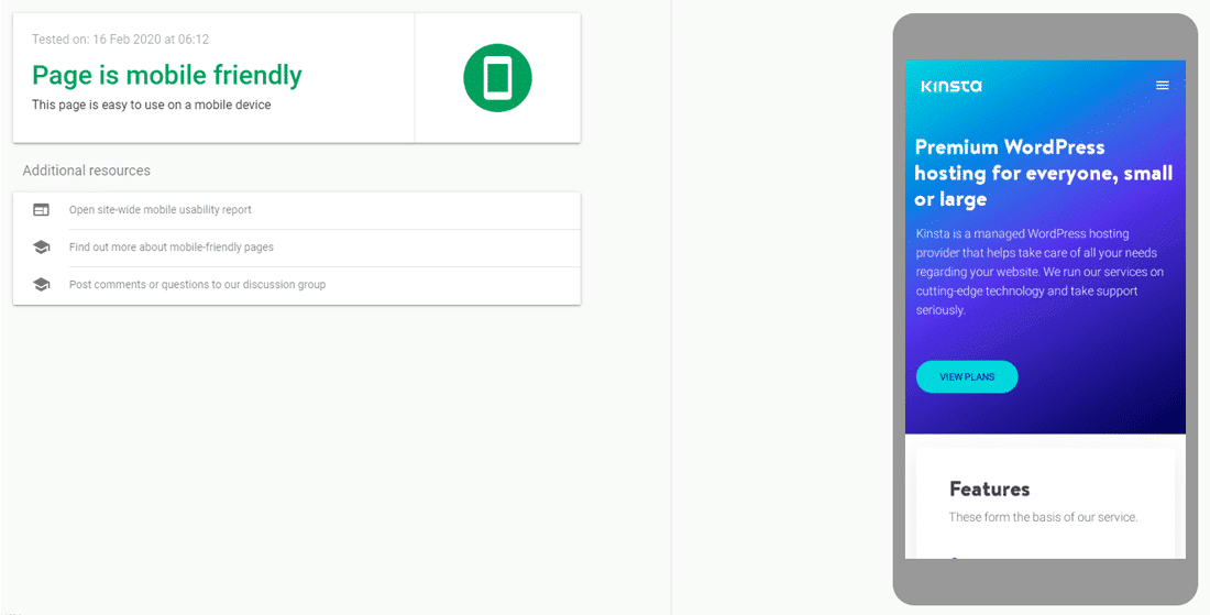 Google's Mobile Friendly Test tool