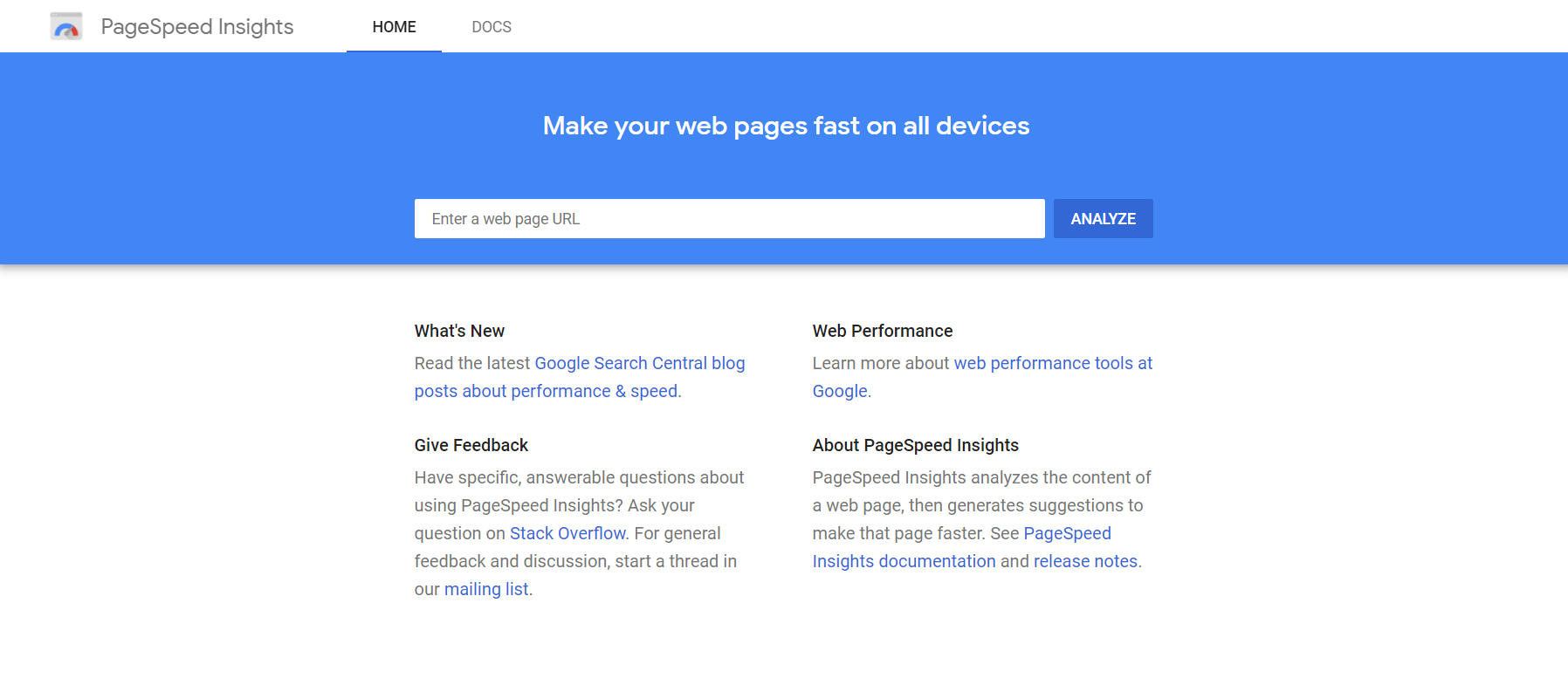 page speed insight site