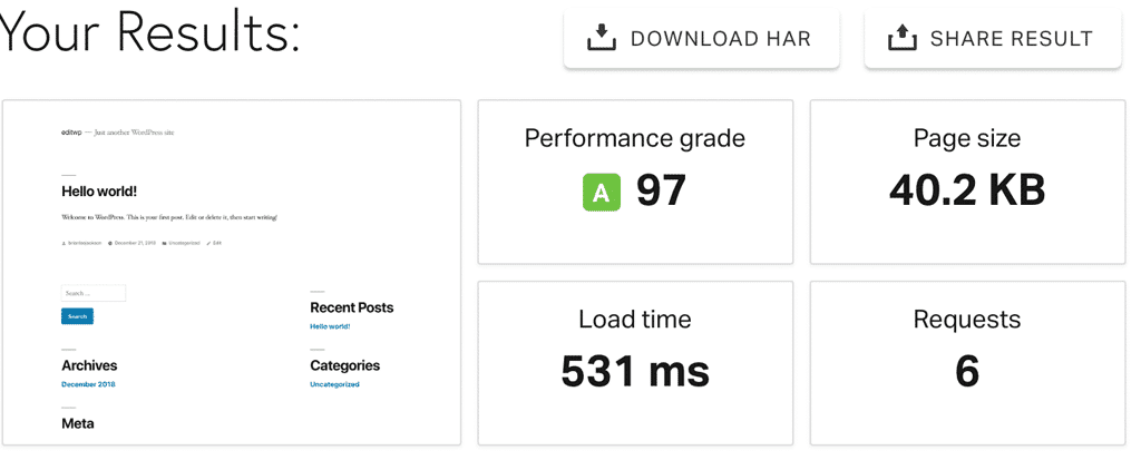 Pingdom Tools example speed test report