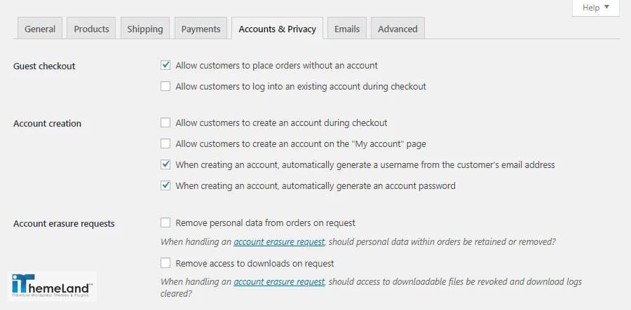 WooCommerce Accounts & Privacy settings