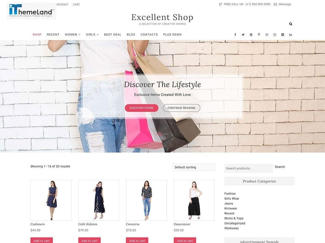 Excellent woocommerce free theme