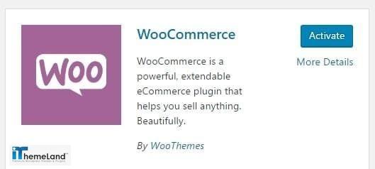 activate woocommerce plugin in WordPress
