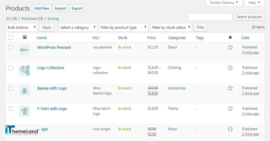 all products page of WooCommerce