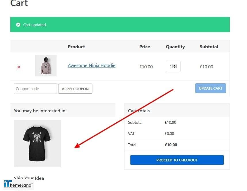 Cross sells products in WooCommerce cart page
