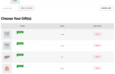 datatable layout for display gifts