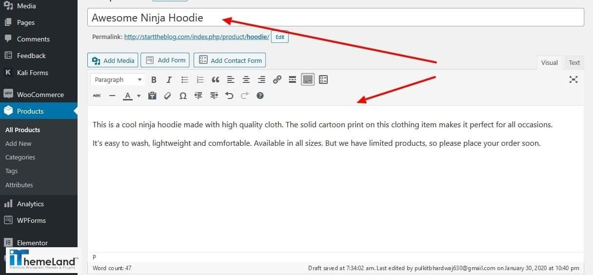add a WooCommerce product description and title