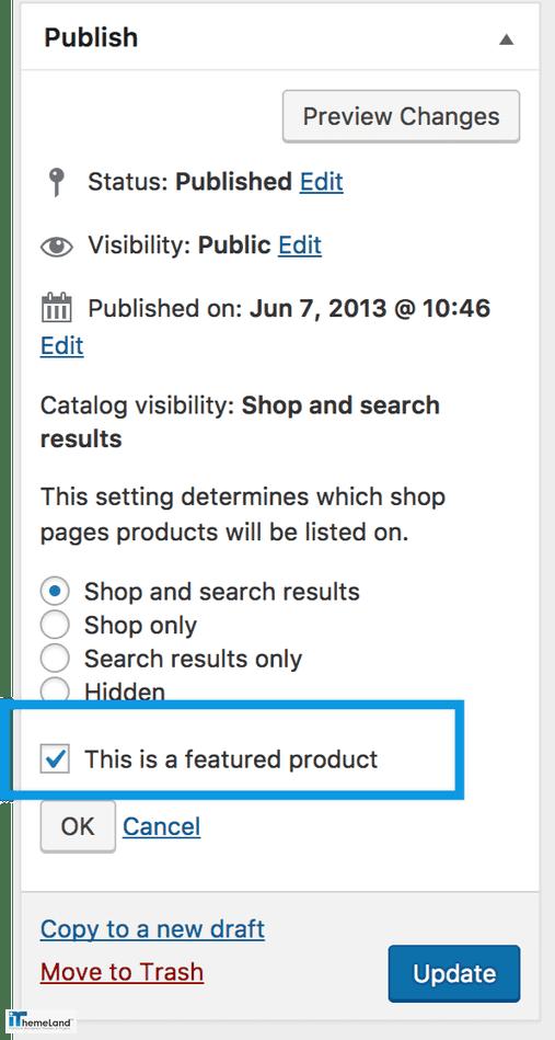 WooCommerce publish product setting