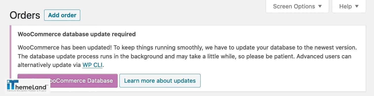 WooCommerce Update Required admin banner notice