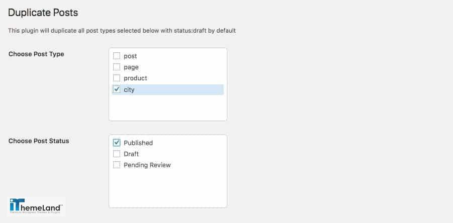 Bulk Duplicate Settings - post type and status