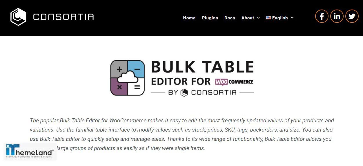 Bulk table editor by consortia