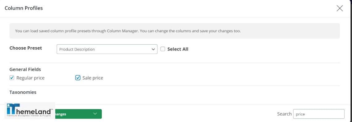 customize column profile in WooCommerce Bulk Product Editing Plugin