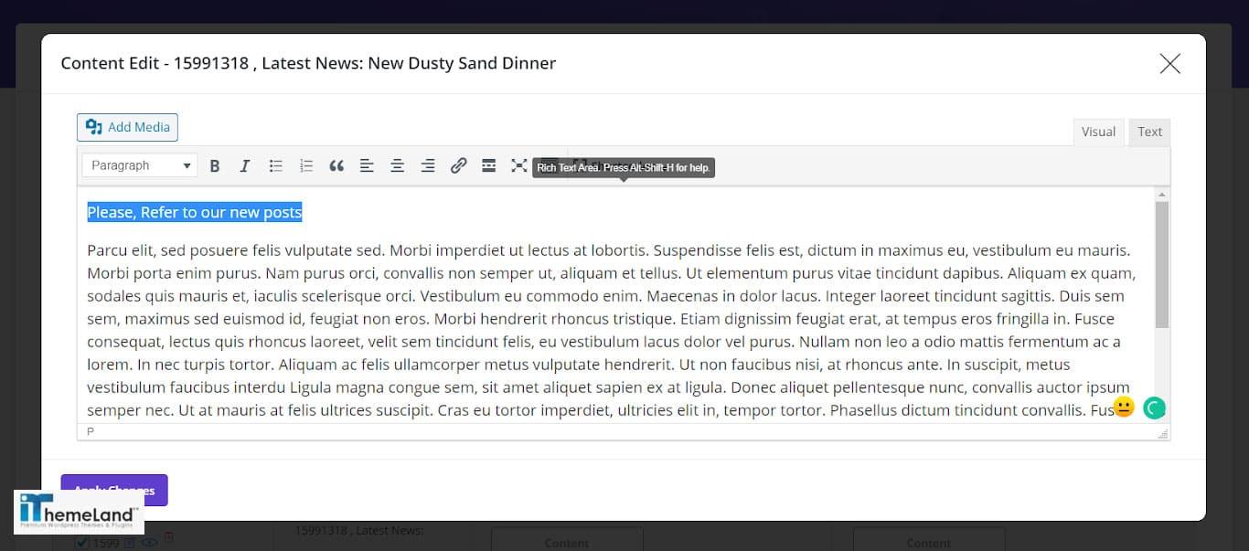 Inline edit Description directly in wordpress bulk post editing